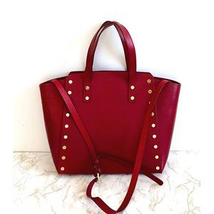 Sandro Red leather tote with metal screw studs